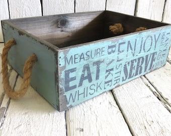 Blue Kitchen Caddy, Wooden Caddy, Organization, Cottage Decor, Farmhouse Decor, Storage Box, Handled Box, Rustic Box, Kitchen Decor