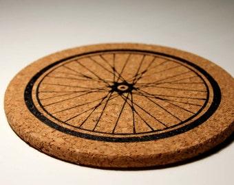 Bicycle Wheel Cork Kitchen Trivet