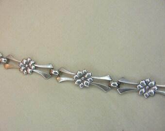 Sterling Silver Flower Link Bracelet, circa 1950s, MFG Stamp