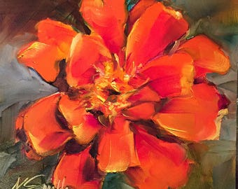 marigold // marigold art // marigold painting // orange flower // orange flower painting // flower art // flower painting // original art