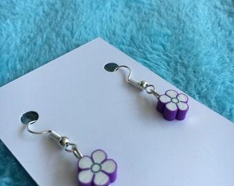 Purple & white flower earrings