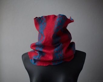 Infinity scarf - Red and blue snood - Felted neck warmer - Striped textured surface tube scarf - Merino wool cowl muffler neck gaiter