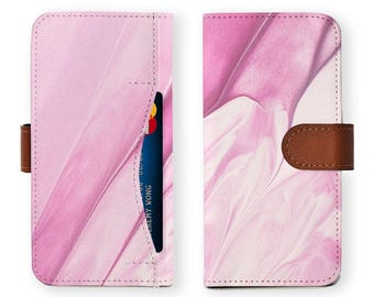iphone wallet detachable brown genuine leather wallet for apple iphone 6 6s 7 plus samsung galaxy s8 s8 plus pink watercolor abstract