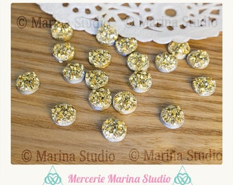 10 gold druzy 8mm cabochons