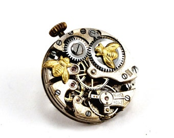 Steampunk Brooch, Bee Brooch, Vintage watch movement