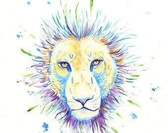 Lion Face Original Watercolor Painting