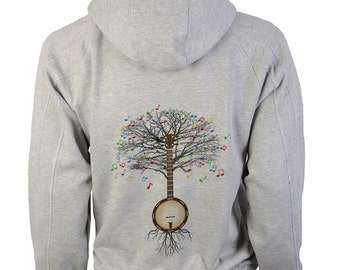 Banjo Hoody Musical Tree in sizes up to XXL