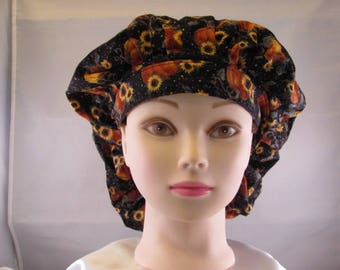 Women's Bouffant Scrub Hat Sunflower/Pumpkin
