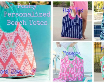 Monogrammed Beach Bag Personalized Beach tote -5 Different Prints
