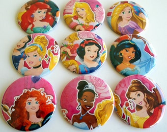 10 Upcycled Disney Princess Buttons - Princess Party Favors - Princess Birthday Party -  Princess Guest Favors - Princess Party Buttons