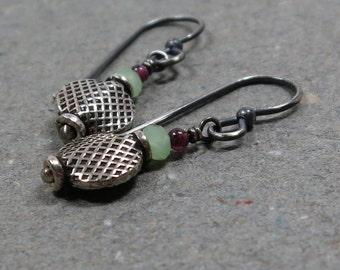 Sterling Silver Earrings Garnet, Mint Green Chalcedony Oxidized Beaded Earrings Gift for Her