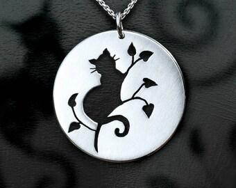 Cat Pendant, Silver Jewelry, Silver Pendant, Silver Jewellery, Cat Jewelry.