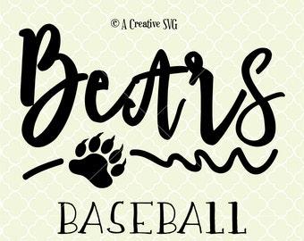 Bears Baseball SVG DXF Files for Cricut Design, Silhouette studio.