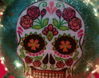 Teal and Skulls Ornaments - Set of 4