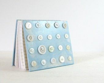 White Button Art Journal - Coptic Stitch Binding - 4 x 5 Blue Art Book - Hand Stitched Book - Modern Art Decor - 240 Page Blank Journal