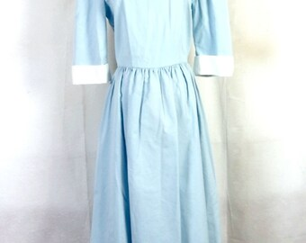 vtg 70s 80s Kathryn Conover Light Blue Peter Pan Collar Dress Plunging Back 10