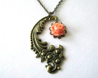 Feather necklace peach flower jewelry victorian vintage style resin rose necklace antique brass bronze