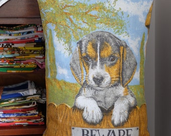Vintage 'Beware of Dog' Tea Towel Cushion