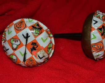 Set of 2 Vintage 50s US Metal Toy Manufacturing Tin Halloween Noisemaker Rattles Ghosts Witches Pumpkins Owls Skulls Bats Black Cats