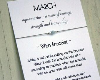 March Birthstone Bracelet - March Birthstone Wish Bracelet - Aquamarine Bracelet - Aquamarine Wish Bracelet - March Gift Bracelet