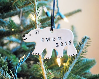 Polar Bear Ornament, Personalized, Ceramic, Pottery, Handmade - Customized Ornament - Christmas Tree Ornament - Lauren Sumner Pottery