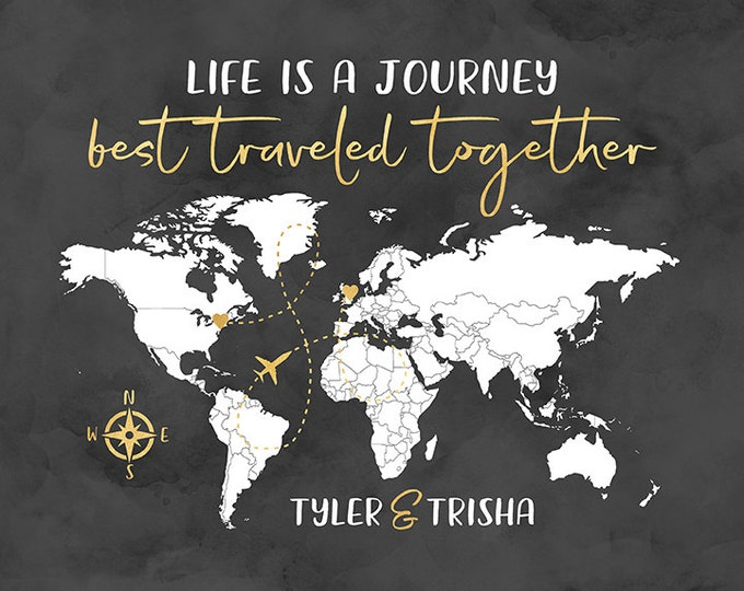 Featured listing image: Personalized Life is a Journey Map, Choose Any Locations, Gold and Gray, Compass, Anniversary Gifts, Long Distance Relationship | WF531