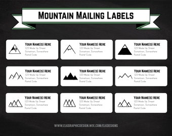 DIY Printable Mountain Mailing Labels, Address Labels, Editable, Label Template, DOC, PDF