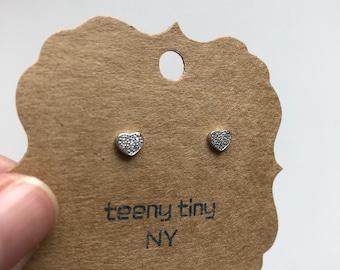 Silver Tiny CZ Heart Stud Earrings - Sterling Silver