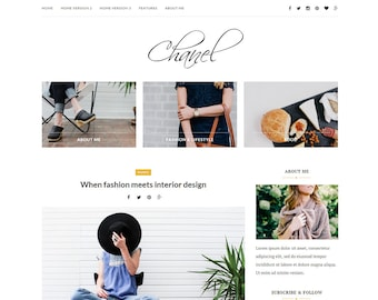 Wordpress theme-Wordpress template- Feminine wordpress theme - Responsive WordPress Theme - Fashion template - Wordpress blog theme - Chanel