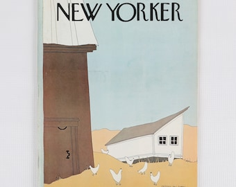 The New Yorker Magazine, Entire Publication Oct 27, 1975. Brown, Yellow, White, Blue, Barn, Chicken Coop & White Chickens. Average to Fair.