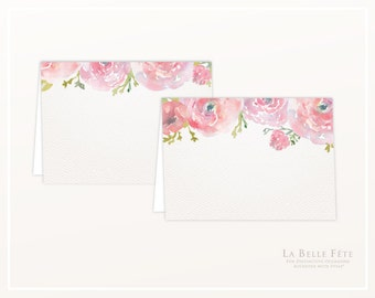 WATERCOLOR FLORAL BRUNCH Food Labels / Place Cards in pink and gold *reversible*