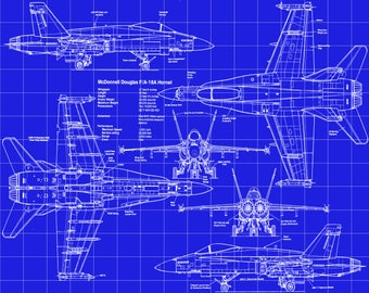 Fa 18 blueprint art etsy fa 18 mcdonnell douglass hornet patent drawing 5 backgrounds reproductions of malvernweather Image collections