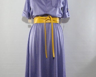 NWT Purple Shirt Dress Short Sleeves, Teena Paige One Piece NOS Dress 11, Polyester One Piece, Day Dress, Deadstock Clothing