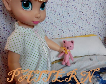 Summer Pajama Collection PATTERN fits Disney Animator Collection Doll, Doll Clothes Pattern, 16 Inch Doll, Animator Doll, Pajamas, Nightgown
