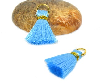 4 mini tassel 25mm rayon color sky blue with ring