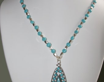 Turquoise and silver plated antiqued metal Necklace with teardrop pendant