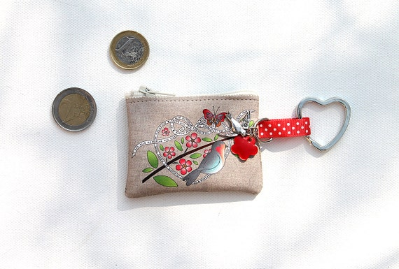 "Keyring / mini wallet in illustrious lin ""little bird"""