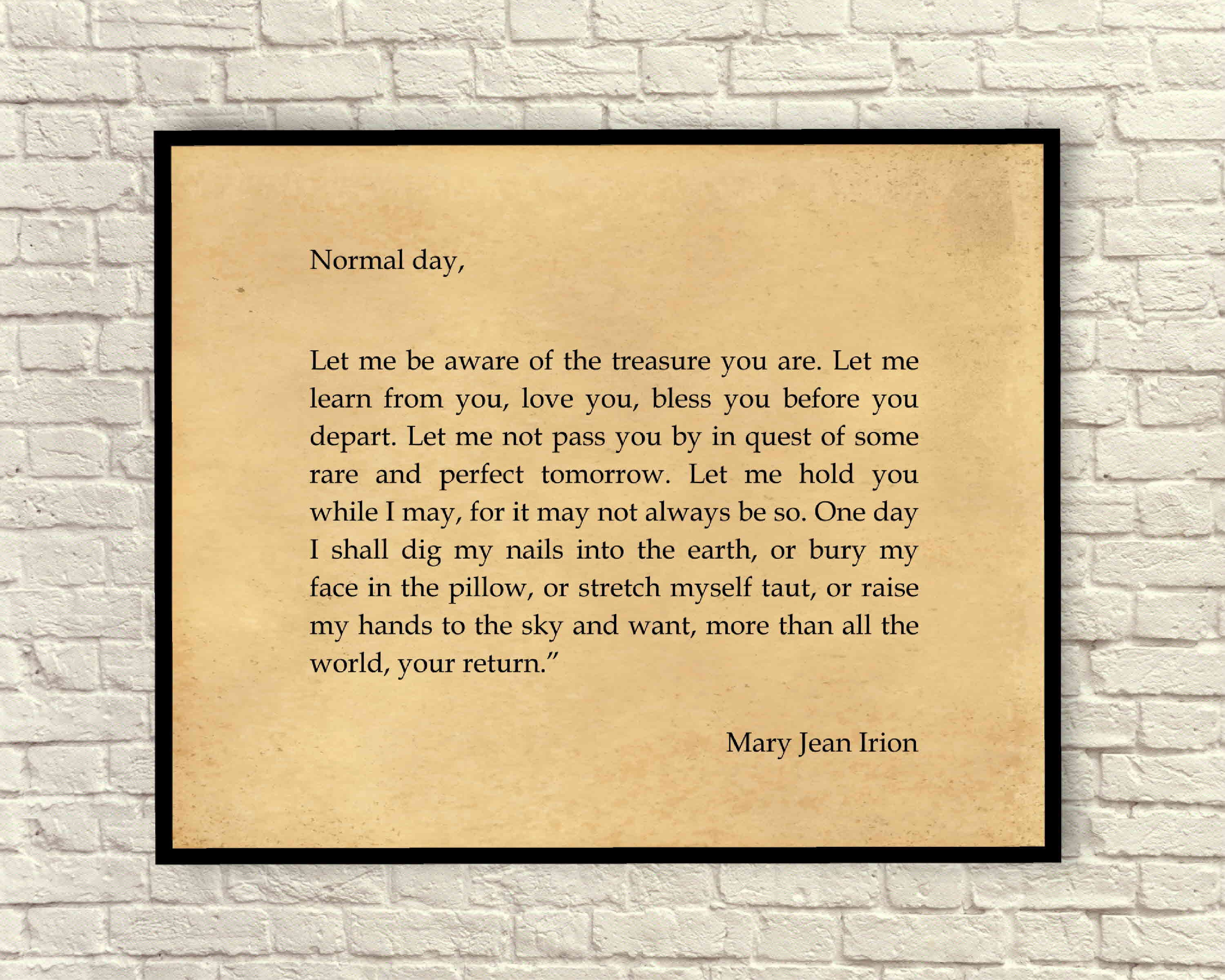 Wall Art Art Print Quote Art Print Mary Jean Irion Quote