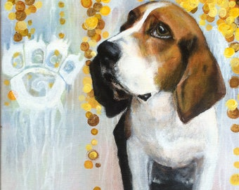 Beagle Painting Contemporary Art, Dog Art 11x14, Original Canvas Wall Art, Modern, Whimsical Art Work - Handpainted, Not a Print