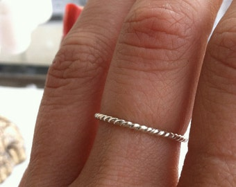 16g Thick Rope Textured Sterling Silver Stacking Ring - custom made to order - Ready to Ship