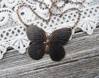 Midnight Butterfly ~ Bohemian Noir fantasy necklace with Vintaj brass components, dark noir, butterflies, gothic, enchanted