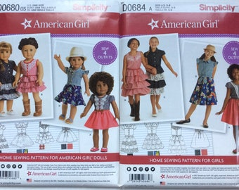 """Simplicity Patterns 8350 and 8359 American Girl Child's Western and Summer Dress with matching 18"""" doll pattern. Size 3 - 8"""