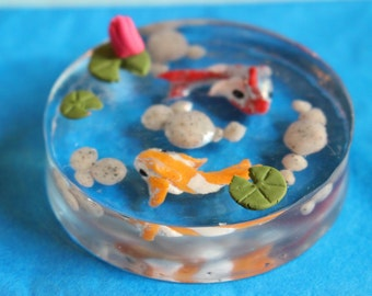 Miniature Koi Pond, Resin Pond for Fairy Gardens and Miniature Landscapes, Terrarium Water Feature, Lily Pads, Dollhouse Miniatures