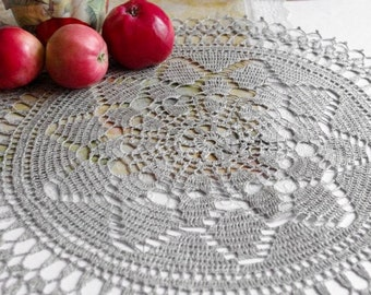 Natural linen crochet doily Grey doily crochet Round lace doilie Large crochet doilies Table top decoration Eco friendly 141