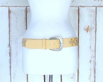 90s vintage light tan brown studded gemstone statement belt/wide faux leather studded belt