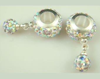 DIY Unbranded 11 mm AB Clear Crystal  European Style CZ Crystal Charm Bracelet Bead