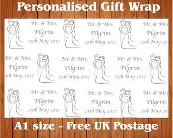 """Personalised Wedding Day Wrapping Paper """"Kissing Couple"""" with 2 tags."""