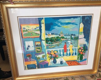 Signed and numbered print by Picot Two women on a balcony