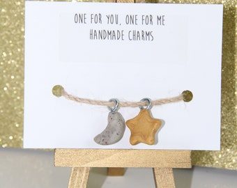 POLYMER CLAY CHARMS-Friendship Charms - Moon and Star
