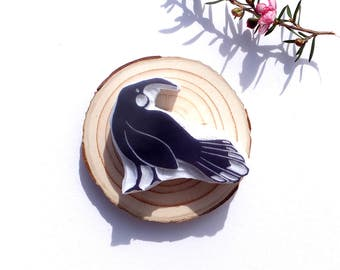 Hand carved rubber stamp NZ huia